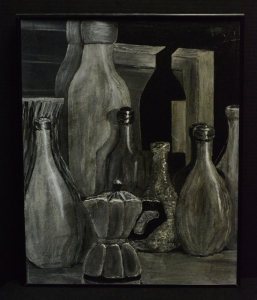An oil study in gray scale using shade and tone concepts